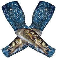 Sun Guard+ 运动压缩袖套男女均适用   运动压缩袖套带 SGS 认证 UPF 50 紫外线防护。 适合高尔夫、骑自行车、跑步、钓鱼、户外(一对)