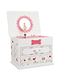 SONGMICS 芭蕾舞音乐首饰盒木制收纳盒,小女孩,卡通猫,毛皮艾丽丝,白色 UJMC22WT