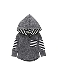 KONIGHT 儿童幼童男童女童秋季服装条纹口袋连帽夹克外套冬季上衣服装