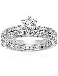 镀铂金标准纯银施华洛世奇锆石圆形明亮式切割两件套新娘戒指套装  透明