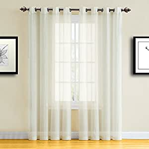 "Warm Home Designs 压绒薄纱窗帘布 - Sarita 米色 2 Panels: 55"" x 84"" Each RIT Beige 55"" x 84"""
