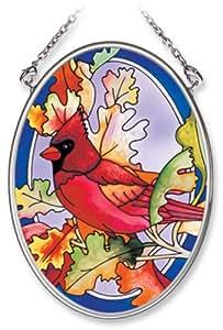 Amia 手绘玻璃吊饰带秋红色设计,3-1/4 英寸 x 4-1/4 英寸椭圆形