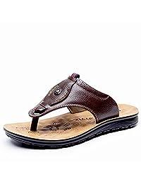 Yarabeefull 新款夏季男凉鞋度假用头层牛皮沙滩鞋夹趾拖真皮男拖鞋男士凉鞋东南亚旅游用鞋 …