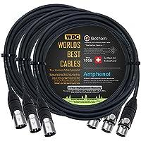 3 件 - 25 英尺 - Gotham GAC-4/1(黑色) - 星形四头形,双屏蔽平衡公对母麦克风线缆带安酚 AX3M 和 AX3F 银色 XLR 连接器 - 由 WORLDS BEST 电缆定制