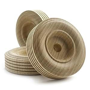 6.35 厘米花纹木制玩具车轮,厚 1.91 厘米,带 0.95 厘米的孔洞。 未抛光木 Bag of 50 TWT25050