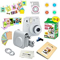 Fujifilm Instax Mini 9 Instant Camera - SMOKEY WHITE + Fuji INSTAX Film (20 Exposures) + Multifarious Instax Accessory Kit BUNDLE Includes; Case/Strap & Album + Fun Frames/Stickers/Lenses + MORE
