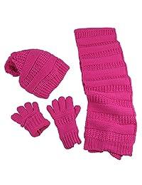 N'Ice Caps 女童羊羔绒内衬针织帽/围巾/触摸屏手套 3 件套