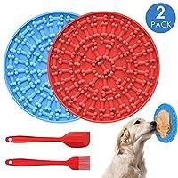 GeeRic 狗舔垫 2 件狗舔垫 宠物舔垫 慢喂食器 分心装置 带吸盘到墙面用于洗澡,赠送 1 把刮刀 + 1 把刷子