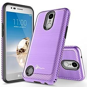 LG Aristo 2 手机壳 (X210),LG LV3 (2018) 手机壳,LG K8 (2018) 免费手机壳 [全覆盖钢化玻璃屏幕保护膜],NageBee [碳纤维拉丝] [重型] 保护壳NGBLGARISTO2CBLS2IN1PP 紫色