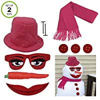 Evelots 10 件套雪人女士雪人套装,雪女侠装饰套装 Snowman Kit 2 Snowman Kits 多色