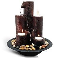 SereneLife 桌面瀑布喷泉(3 层)瀑布桌上水装饰 – 室内、室外、庭院或花园使用 – 包含 3 根蜡烛和河流根。