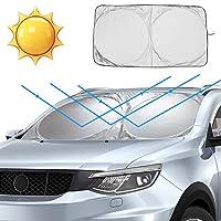 GDAUTO 挡风玻璃遮阳罩汽车前窗遮阳板块可折叠车窗遮阳罩*大紫外线遮阳板保护装置保持车辆凉爽,适合大多数汽车越野卡车(59 x 27 英寸)