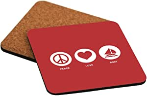 Rikki Knight Peace Love Boat Red Color Design Cork Backed Hard Square Beer Coasters, 4-Inch, Brown, 2-Pack