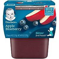 Gerber 嘉寶二段輔食蘋果藍莓泥,4 盎司 (約 113.4 克),管裝,2盒(8 件裝)