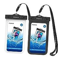 MOKO [ 2包 ] 通用防水手机保护套带臂带 & 领肩带适用于设备和配件 UP TO 15.2cm 黑与白 2 件装