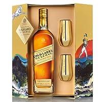Johnnie Walker尊尼获加威士忌金方典藏礼盒750ml(金詹杯*2)