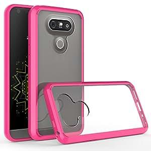 LG G5 手机壳,Bastex 纤薄贴合减震弹性透明硬橡胶熔合缓冲 TPU 手机壳适用于 LG G5W2: Q 255B G5 BUMPER CLEAR HT PNK-ALE 桃红色