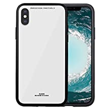 greenelec iphone X 保护套硬度玻璃背盖防刮和优秀 GRIP 兼容适用于 Apple iphone X ( 2017) 白色