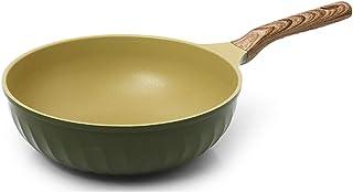 四季 Titenium 陶瓷 Heptanes 涂层强力不粘洗碗机*橄榄绿木煎锅和锅炊具/耐腐蚀层 Wok 26cm