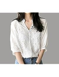 女式衬衣欧韩女装休闲刺绣蕾丝宽松短袖女士衬衫 长袖女LK803