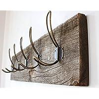 """复古乡村风格壁挂式大衣架 - 真正的谷仓木挂钩,适用于毛巾、衣服、帽子、袋子 - 复古门壁挂式 5 钩导轨 Vintage Style Wire Hook - 26""""x5¾ x 7/8"""" Gray, Brown, Grey, Light Brown"""