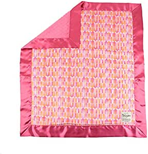 My Blankee Cindy Minky Velour 带覆盆子圆点丝绒和平缎边缘,婴儿毯 76.2 X 88.9 厘米