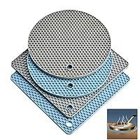 硅胶三脚架蜂窝隔热垫热热锅架干燥垫耐热 440°F,防滑,耐用,灵活厨房工具(2 个方形 + 2 个圆形)