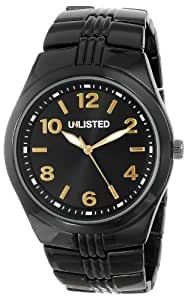Unlisted Watchs男式ul5137kcp City Streets黑色表壳手镯黑色表盘橙色细节手表
