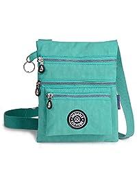 斜挎包钱包适用于女式尼龙防水斜挎包适用于女式和女孩时尚花朵印花星星单肩邮差包斜挎包钱包 绿色 小号