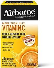 Airborne 維生素 C 混合補充劑,熱情橙子口味泡騰粉包(每盒20包),便攜,無麩質,含天然香料和抗氧化劑(維生素 A、C 和 E)