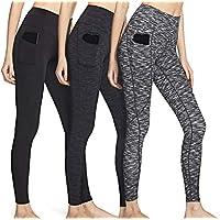 ATHLIO 女式(3 件装)主动高腰收腹性能瑜伽裤带隐藏/侧口袋