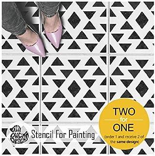 阿兹特克瓷砖模板用于涂漆地板墙壁家具|几何波西米亚可重复使用模板 8 inches