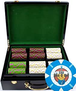 Claysmith Gaming 500-Count 'Rock & Roll' Poker Chip Set in Hi Gloss Wooden Case, 13.5gm