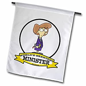 dooni Designs worlds greatest 漫画–趣味 worlds greatest minister 女性卡通–旗帜 12 x 18 inch Garden Flag