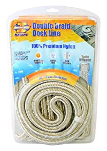 Invincible Marine 25-Foot Double Braid Nylon Dock Line, 1/2-Inch by 25-Feet, Gold