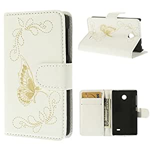 JUJEO Laser Carving Butterfly Wallet Leather Stand Case for Nokia X A110 Dual SIM/X Plus Dual SIM - Non-Retail Packaging - White
