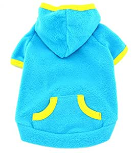 SMALLLEE_LUCKY_STORE Pet Clothes for Small Dog Cat Blank Fleece Coat Hoodie Jumper Sport Style Blue XL