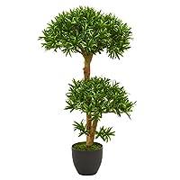 Nearly Natural 5554 3' Bonsai 风格的北极树人造植物,绿色