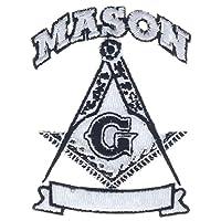 梅森白色和黑色方形和指南针镂空 7.62 cm 刺绣贴片 PPMmasonsqk