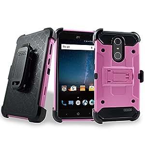 Grand X4 手机壳,中兴 Grand X 4 手机壳,客户 first [重型] 装甲防震双层 [旋转皮带夹] 皮套,带[支架] 组合坚固手机壳 适用于中兴 Grand X4 + 闪存钥匙扣 TAC Pink
