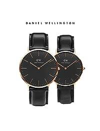 丹尼尔惠灵顿(Daniel Wellington)DW手表情侣对表皮带男黑表+皮带女黑表(2支装) 瑞典品牌 专柜同款 (金色边黑色皮带)