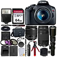 Canon EOS Rebel T7 数码单反相机+ EF-S 18-55mm is II 镜头 + EF 75-300mm 镜头 + 500mm 长焦镜头 + 佳能袋 + 滤镜套件 + 64GB 存储卡 + 闪存 + 远程 + 三脚架 - 专业套装
