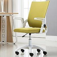 家用转椅 办公椅老板椅护腰椅 会议椅电竞椅子弓形网椅职员椅座椅 电脑椅办公室用椅员工椅 (白框+绿色布艺 滑轮款 钢质脚(颜色为不锈钢色))