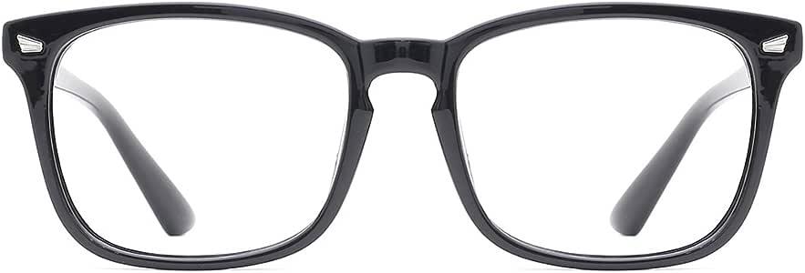 tijn 时尚旅行者 non-prescription 眼镜眼镜透明镜片眼镜框架适用于女式男式 (Blue Light Filter) black