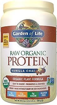 Garden of Life 未加工蛋白香草茶粉,20份*包裝可能各異*認證的素食,無麩質,植物性無糖蛋白質奶昔,酶