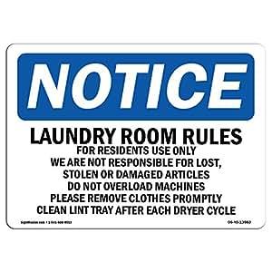 """OSHA 注意标牌 - 居民洗衣室规则仅使用 - 铝、硬质塑料或乙烯基标签贴花 - 保护您的商务、工作场所、仓库和商店区域 - 美国制造 7"""" X 5"""" Decal 景观"""