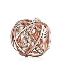GALAXY 饰品正品925纯银镂空吊饰多带透明方晶锆石配欧式手链  Rose Gold