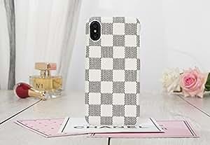 HeiL iPhoneXS MAX 行李箱(亚马逊快速配送*)新款优雅奢华 PU 皮检查图案经典风格手机壳适用于苹果 iPhone Xs MAX 白色 TPU