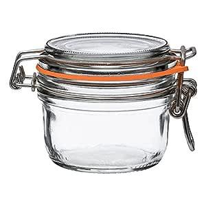 Le Parfait Super Terrines - 宽口法国玻璃保存罐带直体、玻璃盖和天然橡胶密封 - 食品存储罐 透明 125ml - 4oz - SS