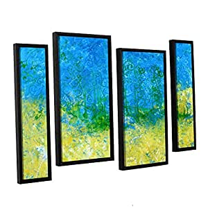 ArtWall 4 Piece Herb Dickinson's Tropical Waters Floater Framed Canvas Staggered Set, 24 x 36""